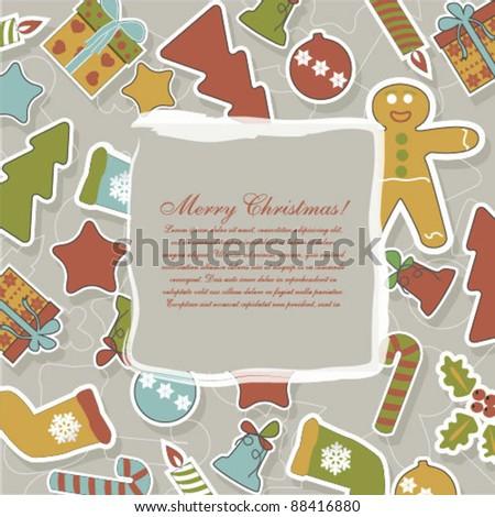 Green Christmas card with balls, stars, gift - stock vector