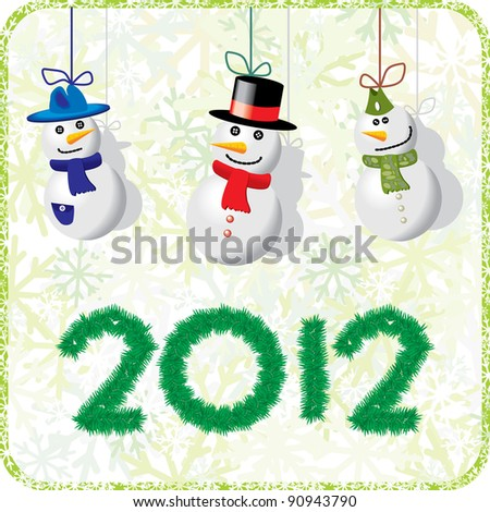 Green Christmas card with snowmen
