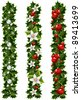 Green Christmas garlands of holly and mistletoe - stock vector