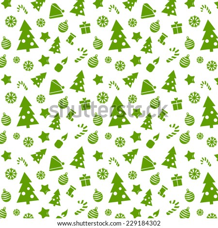 Green Christmas paper vector seamless pattern - stock vector