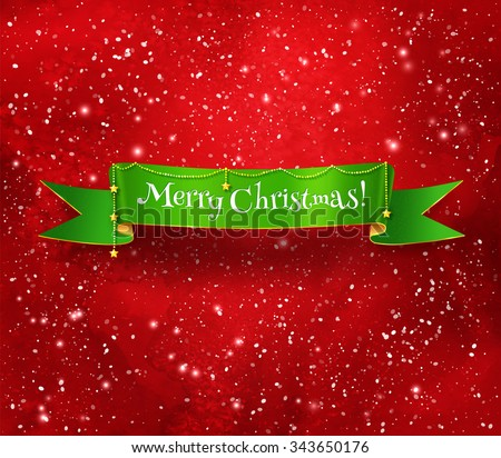 Green Christmas ribbon banner with gold garland on red glowing watercolor background with falling snow. - stock vector