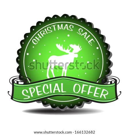 Green Christmas sale badge with moose silhouette and the text special offer written with white letters - stock vector