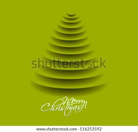 green christmas tree, design, vector illustration. - stock vector