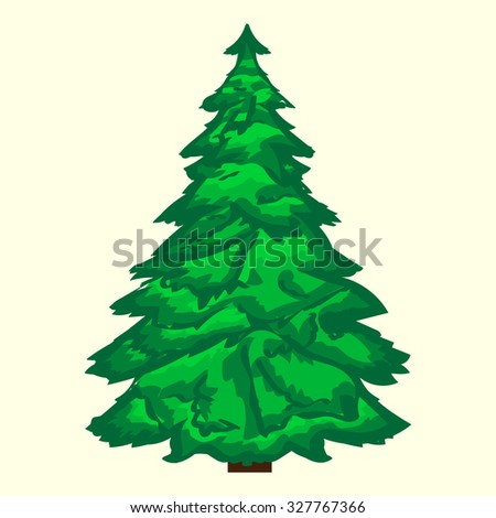 Green Christmas tree. Natural festive vector background