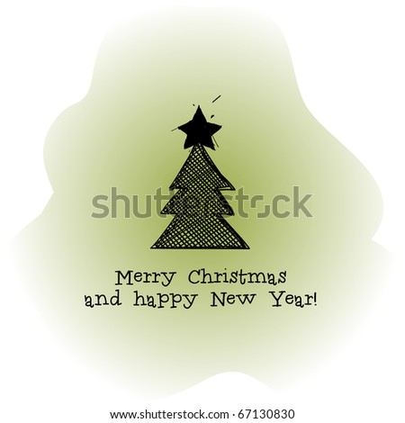 Green Christmas tree sketch - stock vector