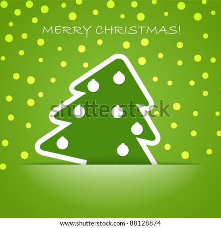 Green christmas tree with balls in a pocket. Christmas greeting card - stock vector