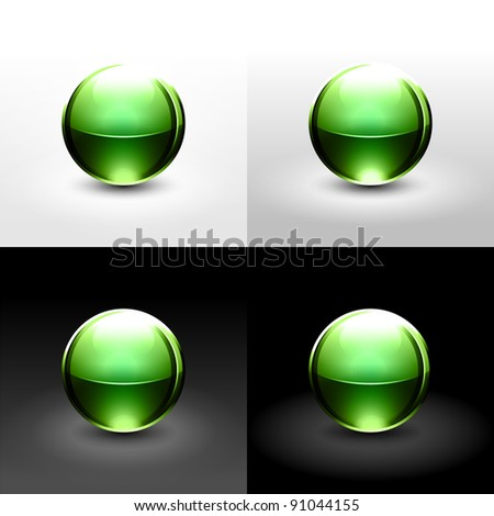 Green chrome metal ball with drop black shadow and glowing on white, gray and black background. This vector illustration saved in 10 eps - stock vector