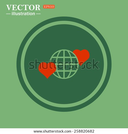 Green circle on a green background with a stroke.  Icon planet and two red hearts. Symbol of love between the nation. Globe.  vector illustration, EPS 10  - stock vector