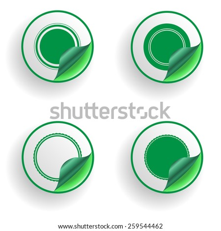 Green Circle Stickers . Vector Illustration .  - stock vector