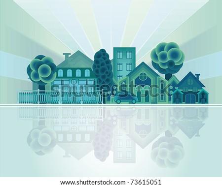 Green city - stock vector