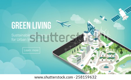 Green city and sustainable architecture banner with 3d metropolis on a touch screen tablet or smart phone - stock vector
