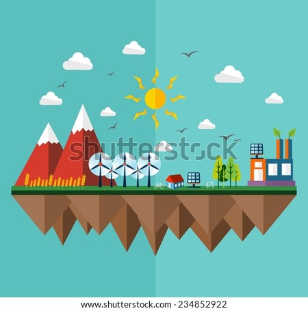 Green city concept illustration in flat style design. Ideas for ecology brochure, book cover and print poster. EPS10 vector file. - stock vector