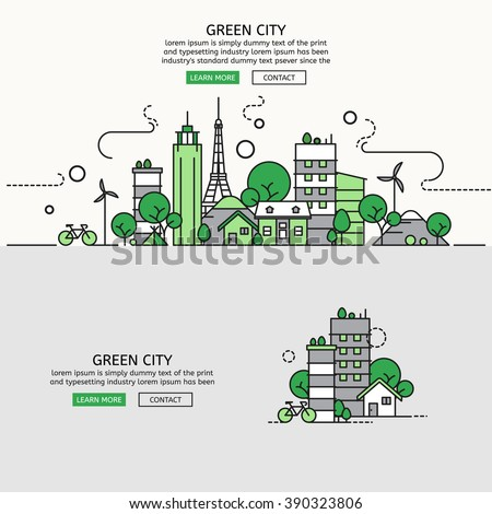 Green City for website banner and landing page , Flat line design for website element , eps10 vector format - stock vector