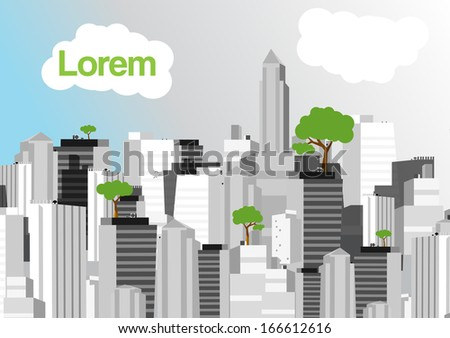 Green City in Black and White Background - Vector Illustration - stock vector