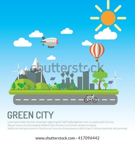Green city infographic. - stock vector