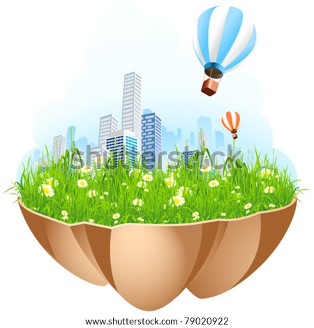 Green City Island with grass flowers and hot-air-balloons - stock vector