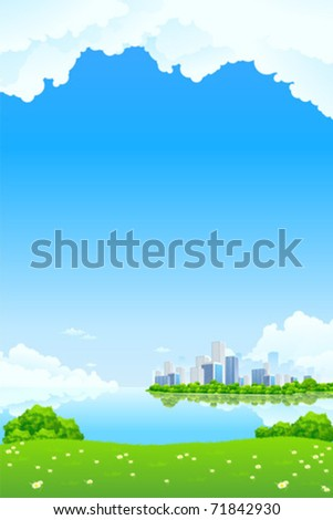 Green City Landscape with lake and flowers - stock vector