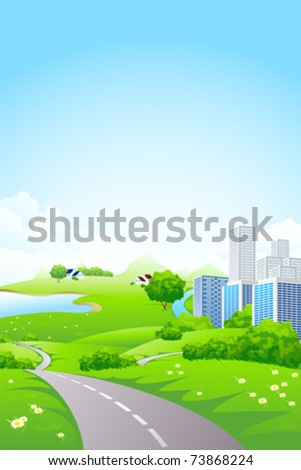 Green City Landscape with road lake and flowers - stock vector