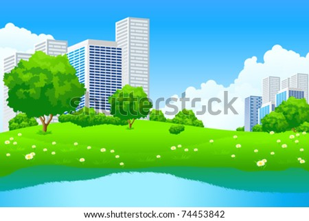 Green City Landscape with tree lake and flowers - stock vector