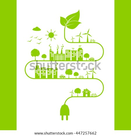 Green city save the world with ecology friendly concept,vector illustration