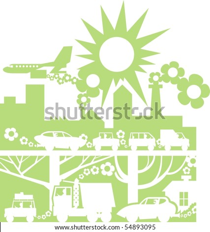 Green city silhouette color vector illustration