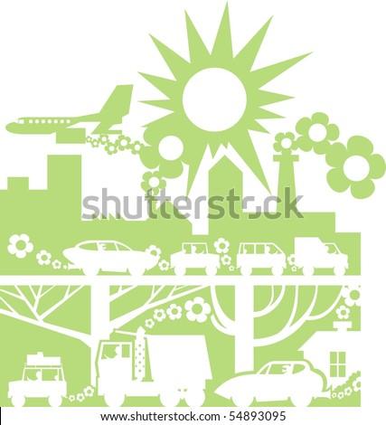 Green city silhouette color vector illustration - stock vector