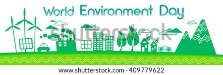 Green City Silhouette Wind Turbine Solar Energy Panel World Environment Day Banner Flat Vector Illustration - stock vector