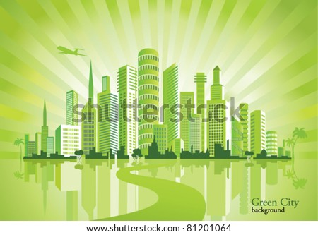 Green City. Urban background. Environment. - stock vector