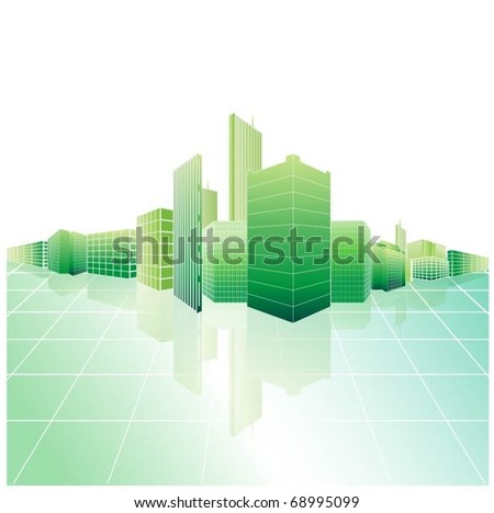 green city-vector - stock vector