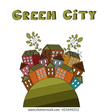 Green city vector illustration - stock vector