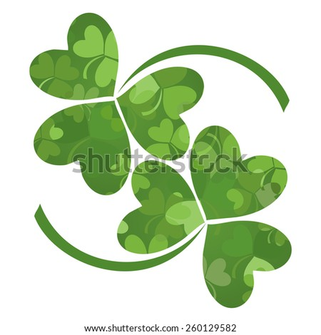 Green Clover isolated on White background. Vector Version - stock vector