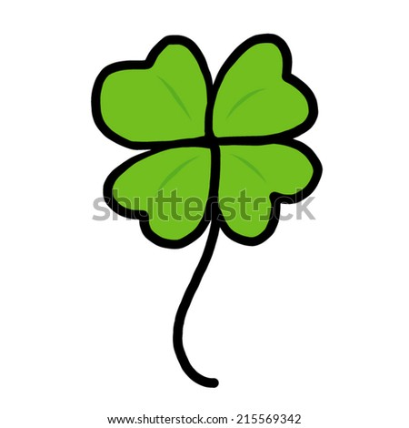 green clover leaf / cartoon vector and illustration, hand drawn style, isolated on white background. - stock vector