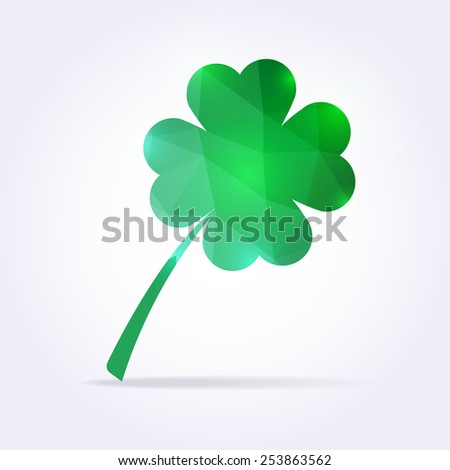 Green clover leaf in low poly style. Vector shamrock illustration - stock vector