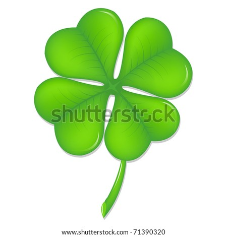 Green Clover, Symbol St. Patrick's Day, Isolated On White Background, Vector Illustration - stock vector