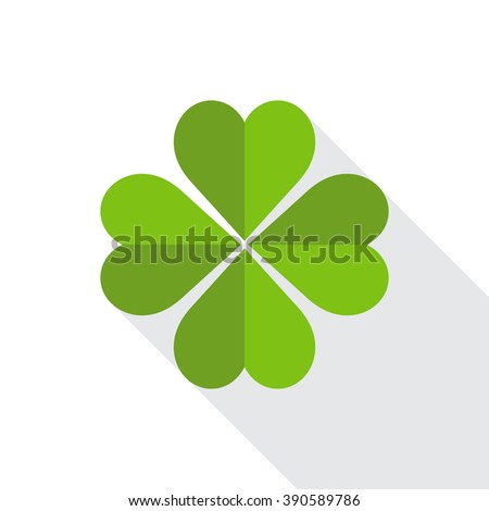 Green clover symbol with shadow. Flat design.