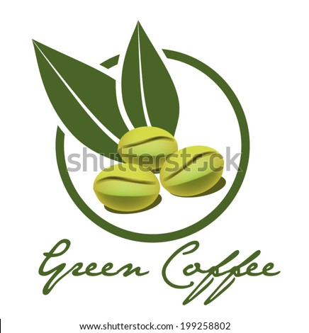 Green coffee illustration vector - stock vector