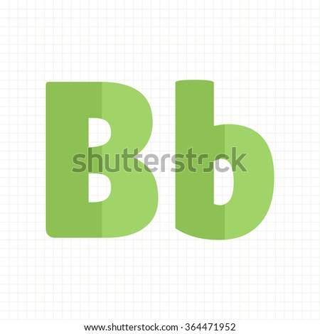 green color alphabet letters B - stock vector