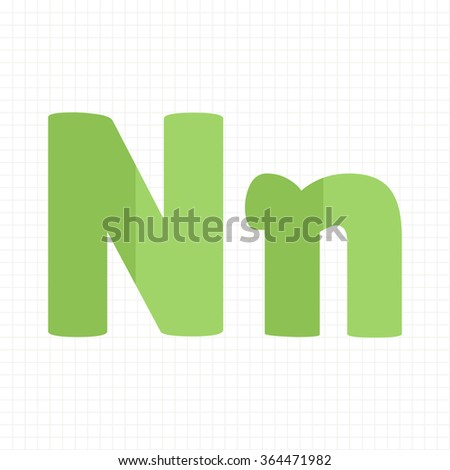 green color alphabet letters N - stock vector