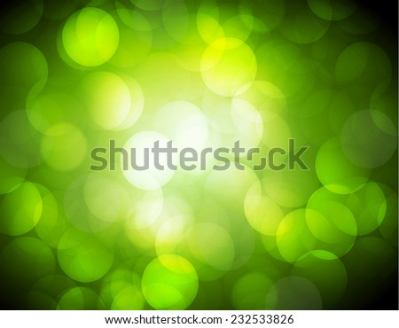 Green color Defocused Light, Flickering Lights, Vector abstract festive background with bokeh defocused lights.  - stock vector