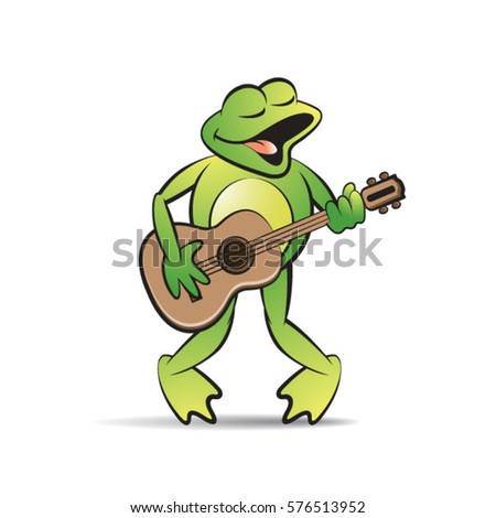 Green Color Happy Frog Mascot Playing Guitar Vector Drawing