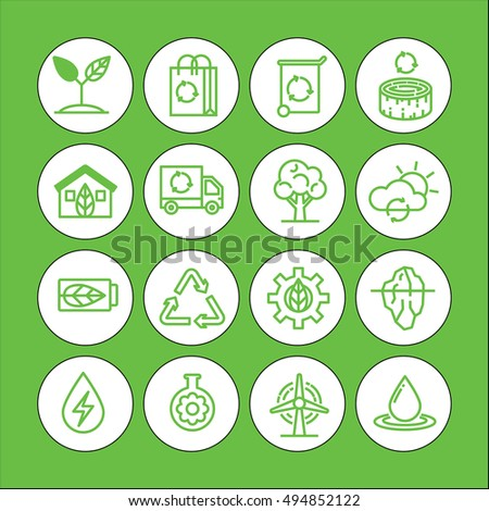 Green color Set of vector icon graphic for Ecology