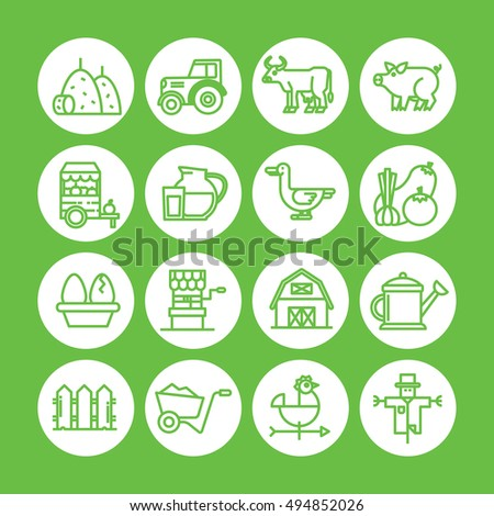 Green color Set of vector icon graphic for Farm