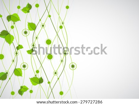 Green color wave with leaves. Nature theme vector - stock vector