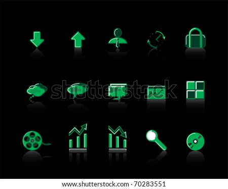 green colorful Web Site & Internet icon set
