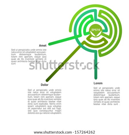 Green composed edition of an abstract minimal & scalable eps10 vector background illustration with curvy  color concept retro lines in a concentric circle composition, for web or any universal use - stock vector