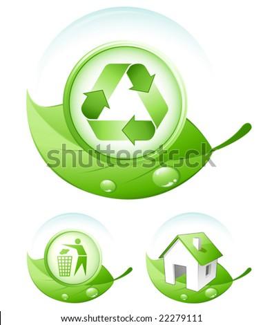 Green concept icons - stock vector