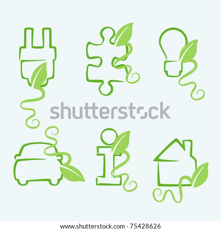 Green concept icons. File also available as a Vector in Adobe illustrator EPS format. No gradients or meshes used. - stock vector