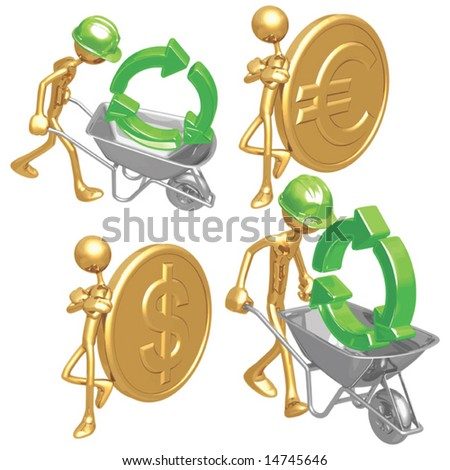 Green Construction / Gold Coins - stock vector