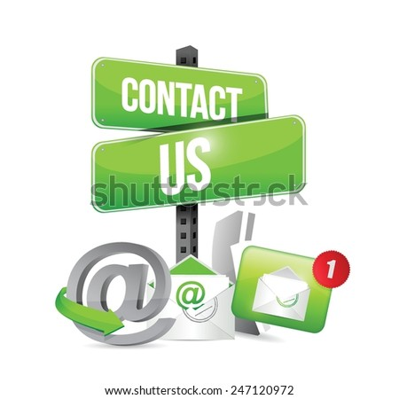 green contact us sign and icons illustration design over a white background - stock vector