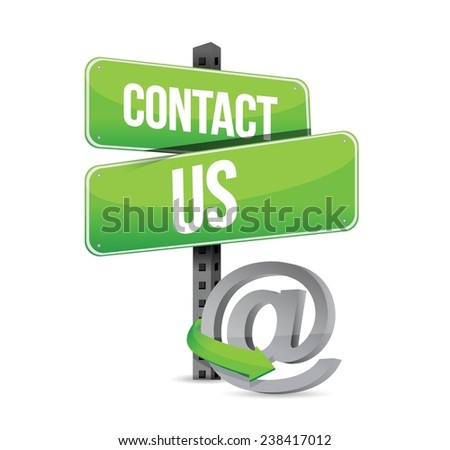 green contact us sign and online at symbol illustration design over a white background - stock vector